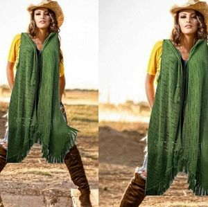 Decree green knit high low sleeveless sweater vest